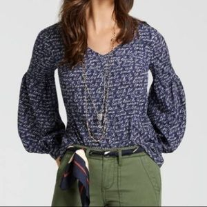 Cabi Te Amo blouse Style 5336 Navy/White Size S